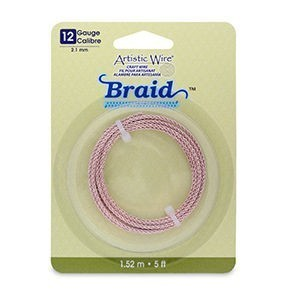 Artistic Wire® 12 Gauge (2.1mm) Braid Round Rose Gold Color 5ft (1.5m)