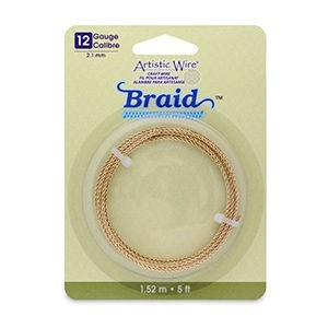 Artistic Wire® 12 Gauge (2.1mm) Braid Round Tarnish Resistant Brass 5ft (1.5m)