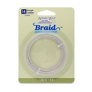Artistic Wire® 14 Gauge (1.6mm) Braid Round Tarnish Resistant Silver 5ft (1.5m)