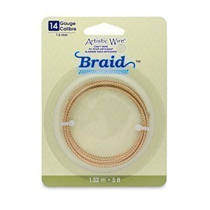 Artistic Wire® 14 Gauge (1.6mm) Braid Round Tarnish Resistant Brass 5ft (1.5m)