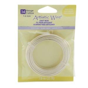 Artistic Wire® 14 Gauge (1.6mm) Silver Plated Pearl Silver 25ft (7.6m)