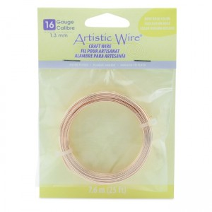 Artistic Wire® 16 Gauge (1.3mm) Silver Plated Rose Gold Color 25ft (7.6m)