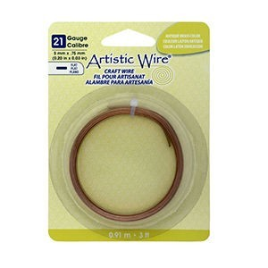 Artistic Wire® 21 Gauge Flat 5mmx.75mm (0.20inx0.03in) Antique Brass Color 3ft (.91m)