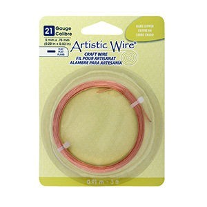 Artistic Wire® 21 Gauge Flat 5mmx.75mm (0.20inx0.03in) Bare Copper 3ft (.91m)