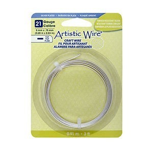 Artistic Wire® 21 Gauge Flat 5mmx.75mm (0.20inx0.03in) Tarnish Resistant Silver 3ft (.91m)