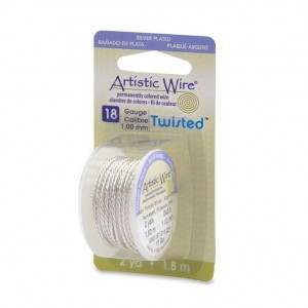 Artistic Wire® 18 Gauge (1.0mm) Twist Round Tarnish Resistant Silver 2yd (1.82m)