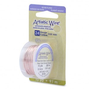 Artistic Wire® 24 Gauge (.51mm) Silver Plated Rose Gold Color 10yd (9.14m)