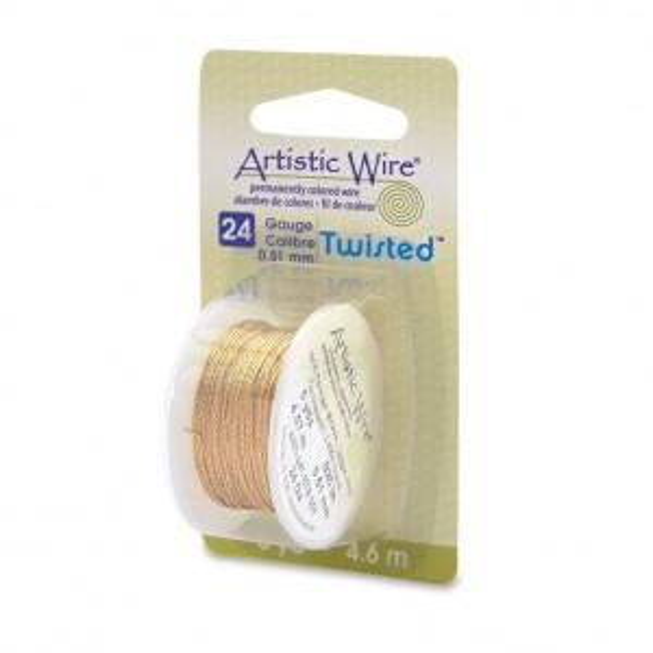 Artistic Wire® 24 Gauge (.51mm) Twist Round Tarnish Resistant Brass 5yd (4.57m)