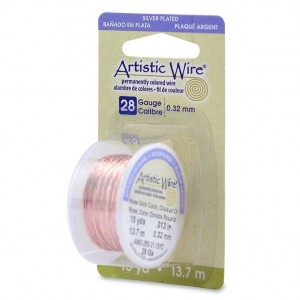 Artistic Wire® 28 Gauge (.32mm) Silver Plated Rose Gold Color 15yd (13.7m)