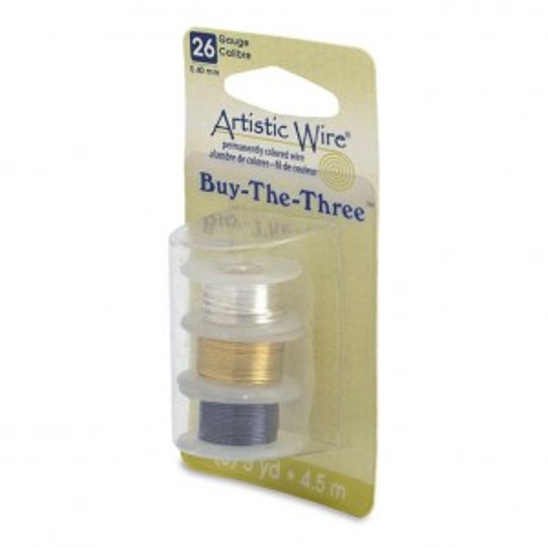 Artistic Wire® 26 Gauge (.41mm) BuyThe3 Tarn-Resist Silver Tarn-Resist Brass Hematite 5yd (4.5m) each