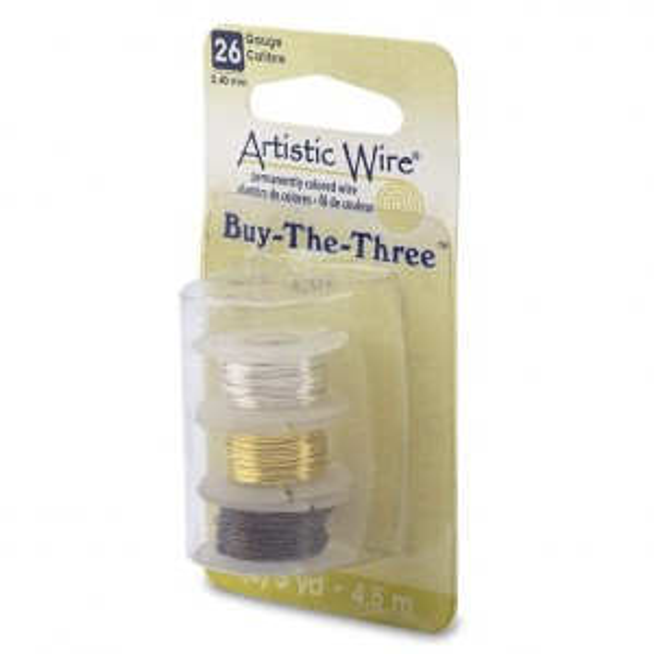 Artistic Wire® 26 Gauge (.41mm) BuyThe3 Tarn-Resist Silver Tarn-Resist Brass Antique Brass 5yd (4.5m) each