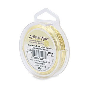 Artistic Wire® 22 Gauge (.64mm) Bare Yellow Brass 15yd (13.7m)