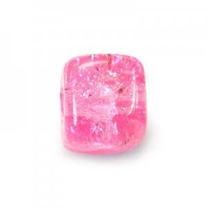8x11mm Neon Pink Crackled Cube Czech Glass Beads (300pc)
