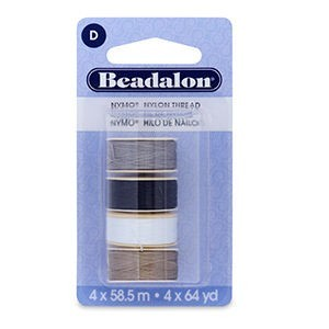 Beadalon® Nymo Thread Size D 0.30mm (.012in) Variety Pack Black White Grey Sand #2 58.5m (64yd) Each