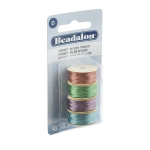 Beadalon® Nymo Thread Size D 0.30mm (.012in) Emerald Green Lilac Turquoise Dusty Mauve 58.5m (64yd) each 4pc