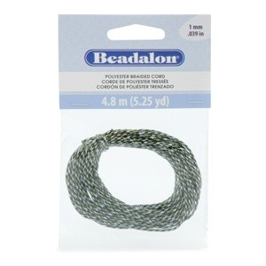 Beadalon® Polyester Braided Cord Multi Colored Black Green White 1mm (0.39in) 4.8m (5.25yd)