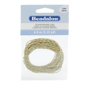 Beadalon® Polyester Braided Cord Multi Colored Tan White 1mm (0.39in) 4.8m (5.25yd)