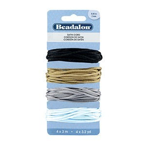 Beadalon® Cord Variety Pack Satin 2mm (.08in) Black Gold Silver White 3m (3.3yd) Ea