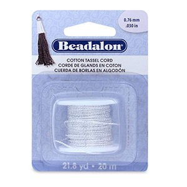 Beadalon® Cotton Tassel Cord Approximately 0.76mm (.030in) Metallic Silver on White 21.8yd (20m)