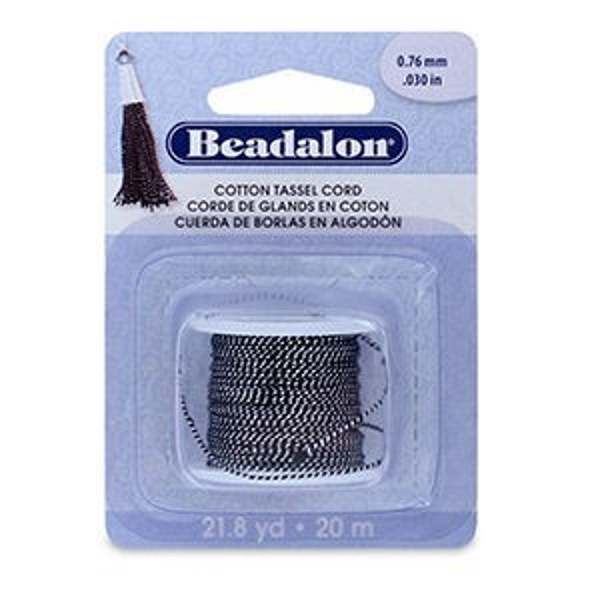 Beadalon® Cotton Tassel Cord Approximately 0.76mm (.030in) Metallic Silver on Black 21.8yd (20m)