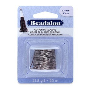 Beadalon® Cotton Tassel Cord Approximately 0.76mm (.030in) Metallic Silver on Brown 21.8yd (20m)