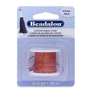 Beadalon® Cotton Tassel Cord Approximately 0.76mm (.030in) Metallic Gold on Red 21.8yd (20m)