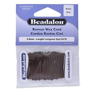 Beadalon® Korea Wax Cord 0.8mm Brown 8yd