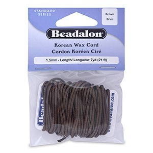 Beadalon® Korea Wax Cord 1.5mm Brown 7yd