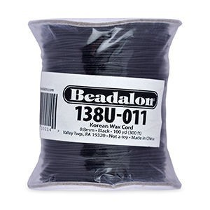 Beadalon® Korea Wax Cord 0.8mm Black 100yd