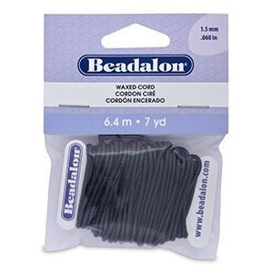 Beadalon® Korea Wax Cord 1.5mm Black 7yd
