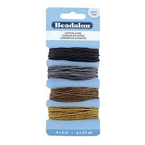 Beadalon® Cord Variety Pack Cotton 1mm (.04in) Black Silver Brown Light Brown 5m (5.5yd) Ea