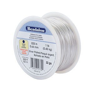 Beadalon® German Style Wire Round Silver Plated 22 Gauge (.025in .64mm) Approx. 500 Ft. 1lb (.44kg)