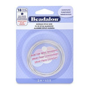 Beadalon® German Style Wire Round Fancy Tarnish Resistant Silver Plated 18 Gauge (.040 in 1.02 Mm) 2 M (6.5 Ft)