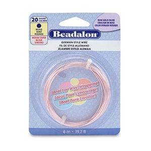 Beadalon® German Style Wire Round Silver Plated Rose Gold Color 20 Gauge (.032 in .81 Mm) 6 M (19.7 Ft)
