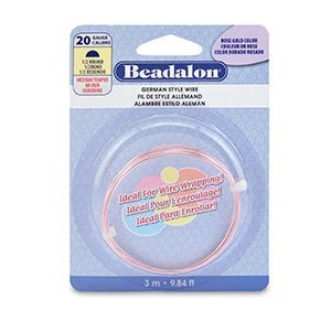 Beadalon® German Style Wire Half Round Silver Plated Rose Gold Color 20 Gauge (.032 in .81 Mm) 3 M (9.8 Ft)
