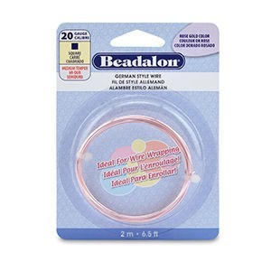 Beadalon® German Style Wire Square Silver Plated Rose Gold Color 20 Gauge (.032 in .81 Mm) 2 M (6.5 Ft)