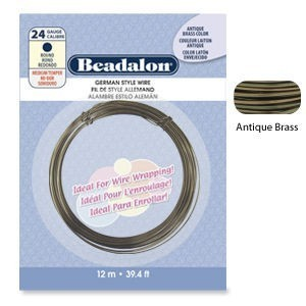 Beadalon® Round Wire Antique Brass 24ga 12m