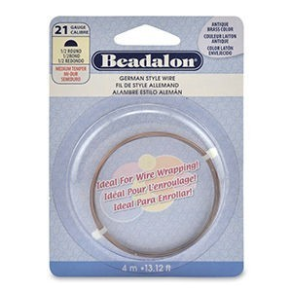 Beadalon® Half Round Wire Antique Br C 21ga 4m