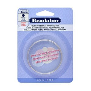 Beadalon® 316l Stainless Steel Wrapping Wire Round 16 Gauge (.050 in 1.3 Mm) 1.75 M (5.74 Ft)