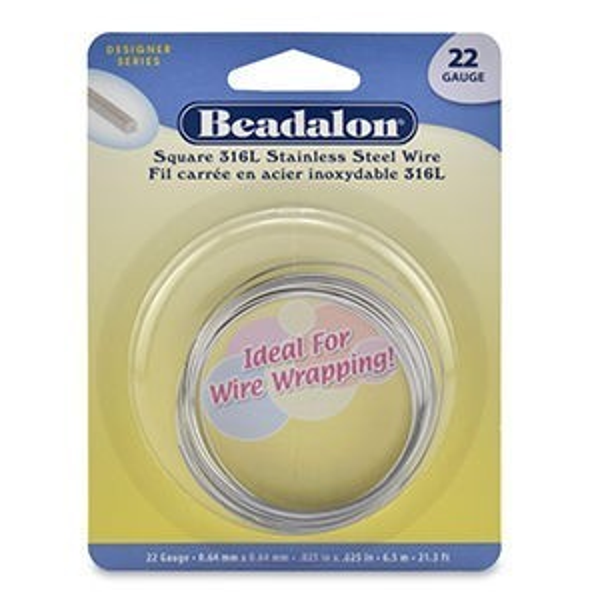 Beadalon® Stainless Square Bright 22ga 6.5m