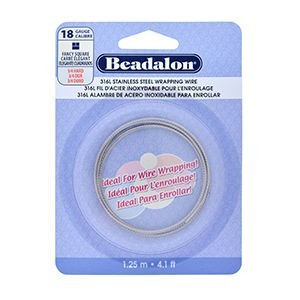 Beadalon® 316l Stainless Steel Wrapping Wire Fancy Square 18 Gauge (.040 in 1.02 Mm) 1.25 M (4.1 Ft)