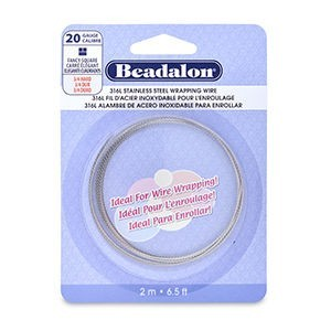 Beadalon® 316l Stainless Steel Wrapping Wire Fancy Square 20 Gauge (.032 in .81 Mm) 2 M (6.5 Ft)