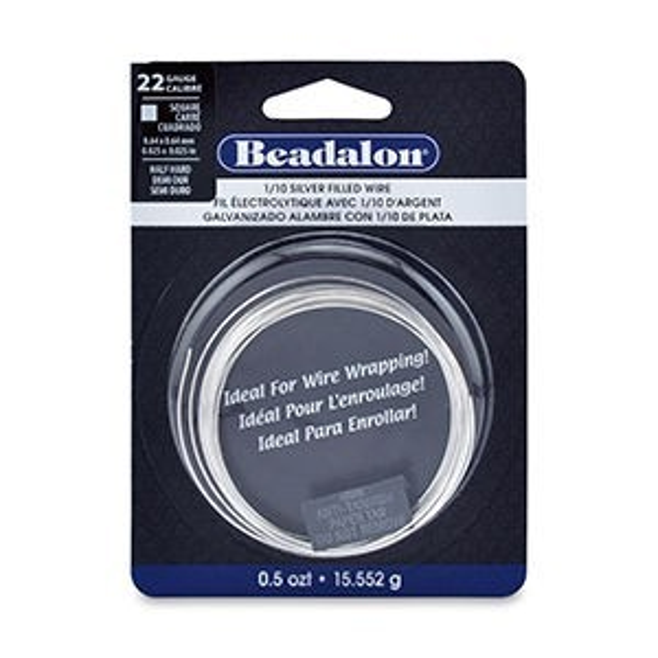 Beadalon® German Style Wire Square 1/10 Silver Filled Cda220 Half Hard 22 Gauge (.025 in .64 Mm) 0.5 Oz T (15.552 G)