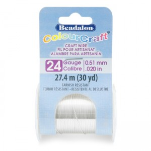 Beadalon® ColourCraft Wire 24 Gauge (0.51mm 0.020in) Tarnish Resistant Silver Plated 27.4m (30yd)
