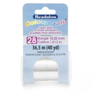 Beadalon® ColourCraft Wire 28 Gauge (0.013 in 0.32mm) Tarnish Resistant Silver Plated 36.5m