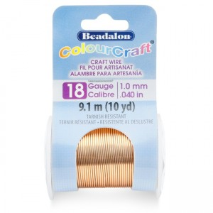 Beadalon® ColourCraft Wire 18 Gauge (0.040 in 1.02mm) Copper Color 9.1m (10yd)