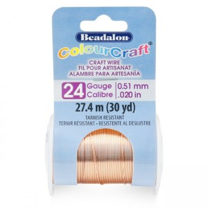 Beadalon® ColourCraft Wire 24 Gauge (0.020 in 0.51mm) Copper Color 27.4m (30yd)