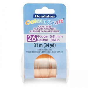 Beadalon® ColourCraft Wire 26 Gauge (0.016 in 0.41mm) Copper Color 31m (34yd)
