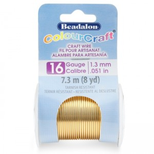 Beadalon® ColourCraft Wire 16 Gauge (0.050 in 1.3mm) Tarnish Resistant Brass Light 7.3m (8yd)