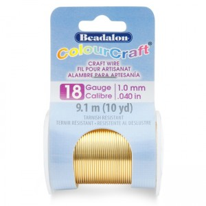 Beadalon® ColourCraft Wire 18 Gauge (0.040 in 1.02mm) Tarnish Resistant Brass Light 9.1m (10yd)